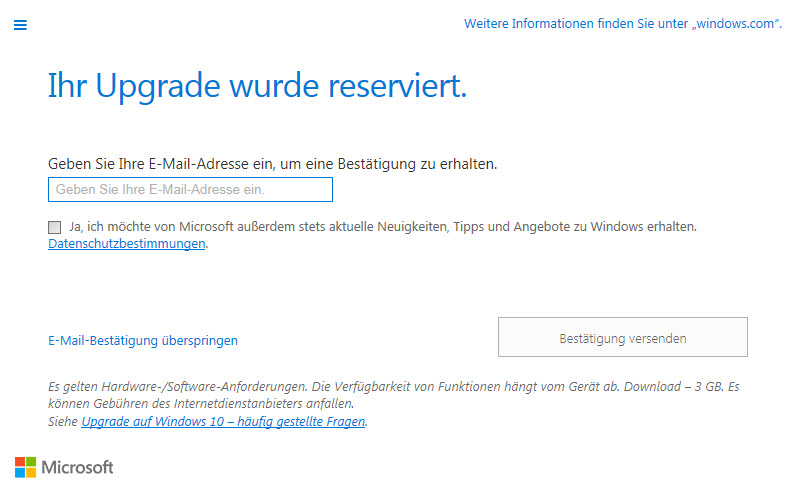 Kostenloses Windows 10 Upgrade – Reservierung für Windows 7 & 8 User hat begonnen