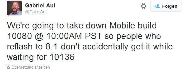 Windows 10 Mobile 10136 kurz vor dem Download