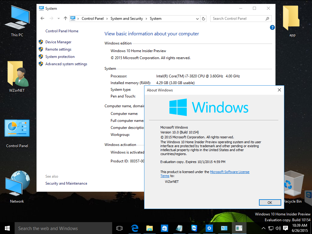Video zur Windows 10 Build 10154