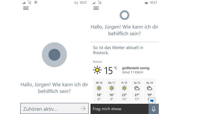 Cortana macht das Wetter hübscher