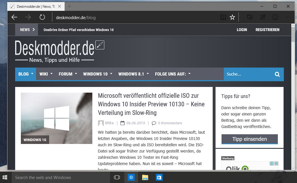 Dunkles Theme für Microsoft Edge in Windows 10 Build 10134 aktivieren