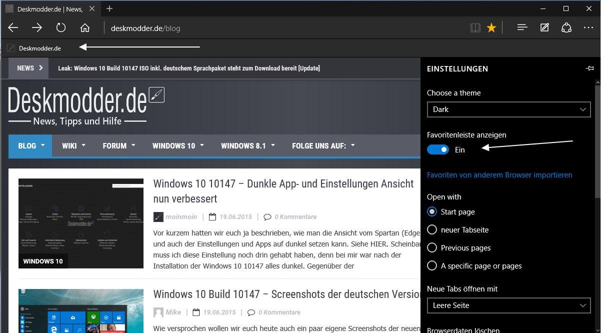 Edge Browser Einstellungen wie Favoritenleiste, Google Suche, Passwort-Synchronisation und mehr