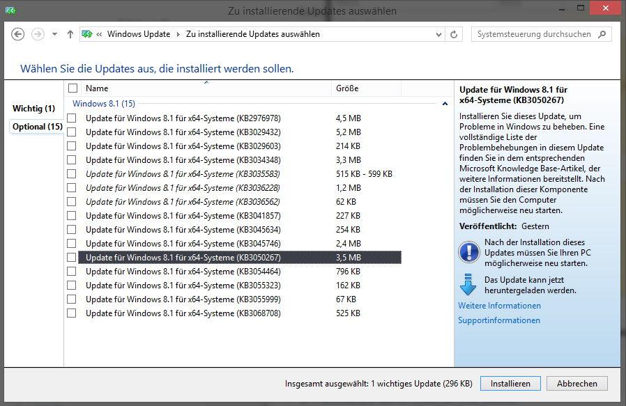 KB3050265, KB3050267 und KB3068708 ersetzen Windows 10 Vorbereitungs-Updates
