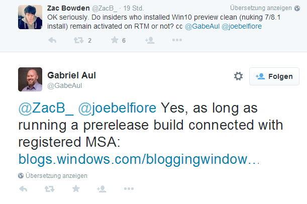 Gabriel Aul bekräftigt kostenloses Windows 10 für Insider