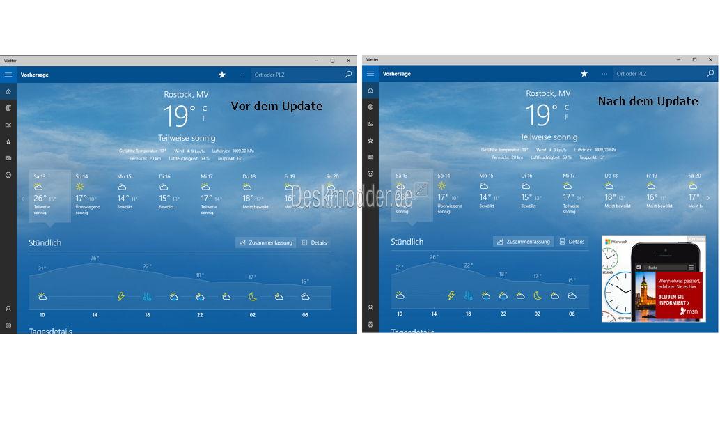 Microsoft (MSN) Apps nun mit Werbung