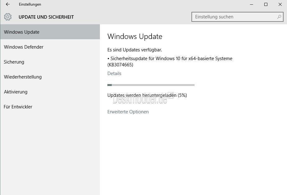 KB3074665: Windows 10 erhält erstes Update-Paket [Update]