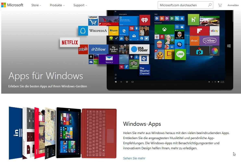 Der neue App Store nun für alle erreichbar und nicht mehr nur unter Windows 10