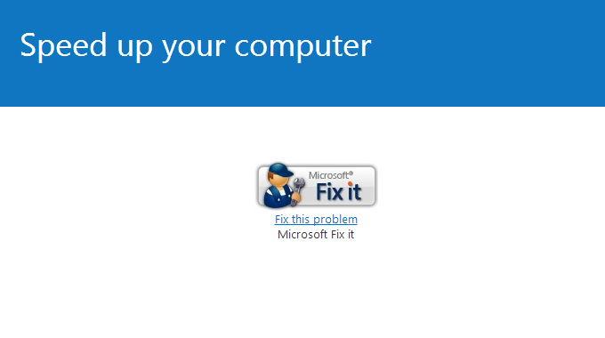 Microsoft FixIt – Beschleunigen Sie Ihren Computer (KB3064207)