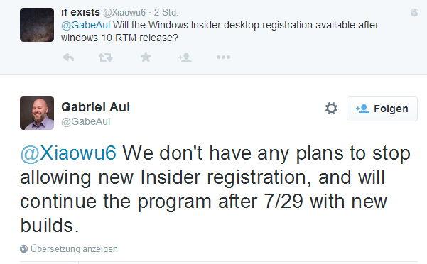 Auch nach dem 29. Juli kann man Insider werden und die neueste Version von Windows 10 testen