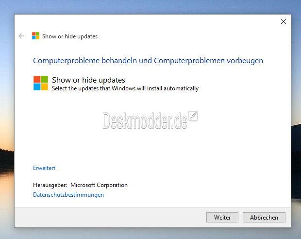 Windows 10: Updates oder Treiberupdates ausblenden bzw. blockieren mit der wushowhide.diagcab
