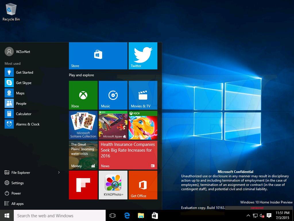 Windows 10 build 10163 screenshots geleakt for Screenshot ecran