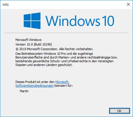 Windows 10 Build 10240 kommt ohne Ablaufdatum für Insider