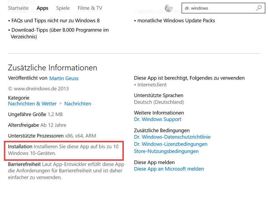 Windows 10 bringt Beschränkung der App-Installation auf maximal 10 Geräte mit