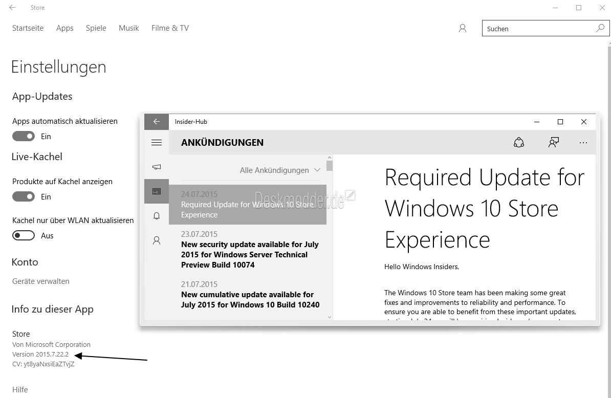 Windows 10  App Store mit einem Update und auch Änderungen im Web-App-Store