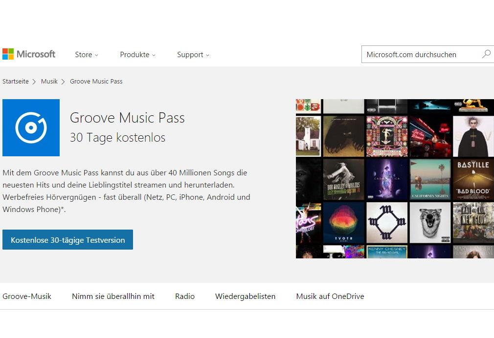 Groove Music Pass 30 Tage kostenlos testen