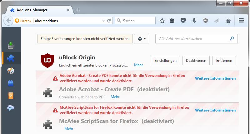 deaktivierte Add-ons in Firefox 41