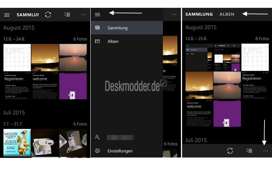 Windows 10 Mobile: Microsoft entfernt das Hamburger-Menü aus der Fotos-App