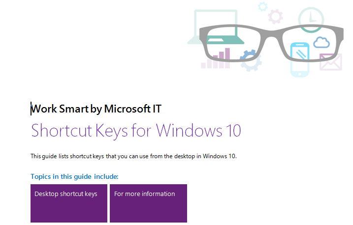 Microsoft stellt die verschiedenen Tastenkombinationen für Windows 10 als Word-Dokument zur Verfügung