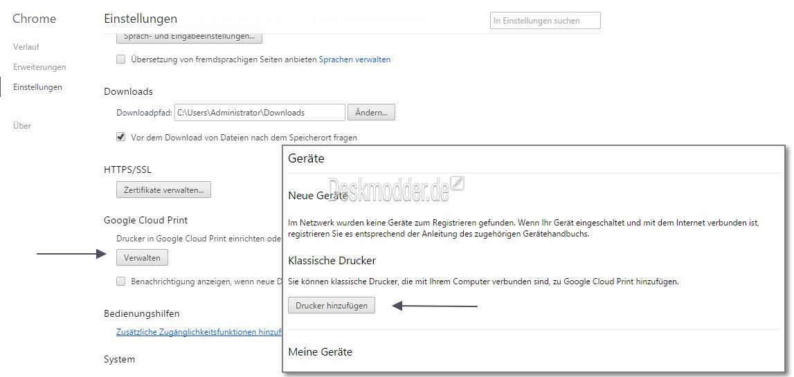 Windows 10: Alten Drucker ohne Treiber mit Google Chrome zum Drucken bringen