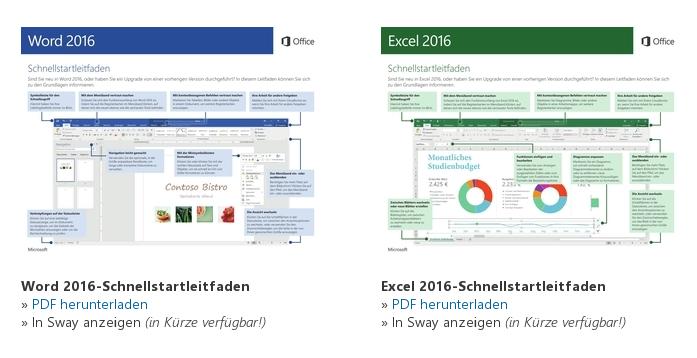 """Schnellleitfäden zu """"Office 2016"""" online"""