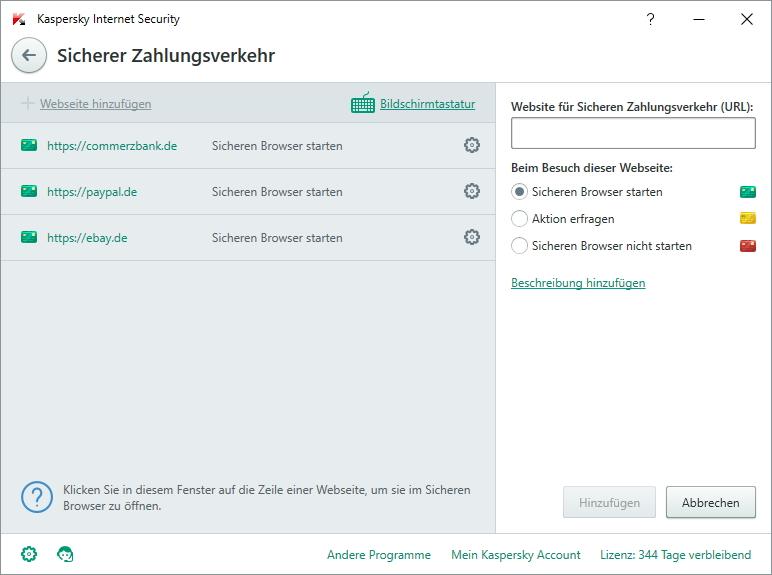 sicheren browser starten kaspersky