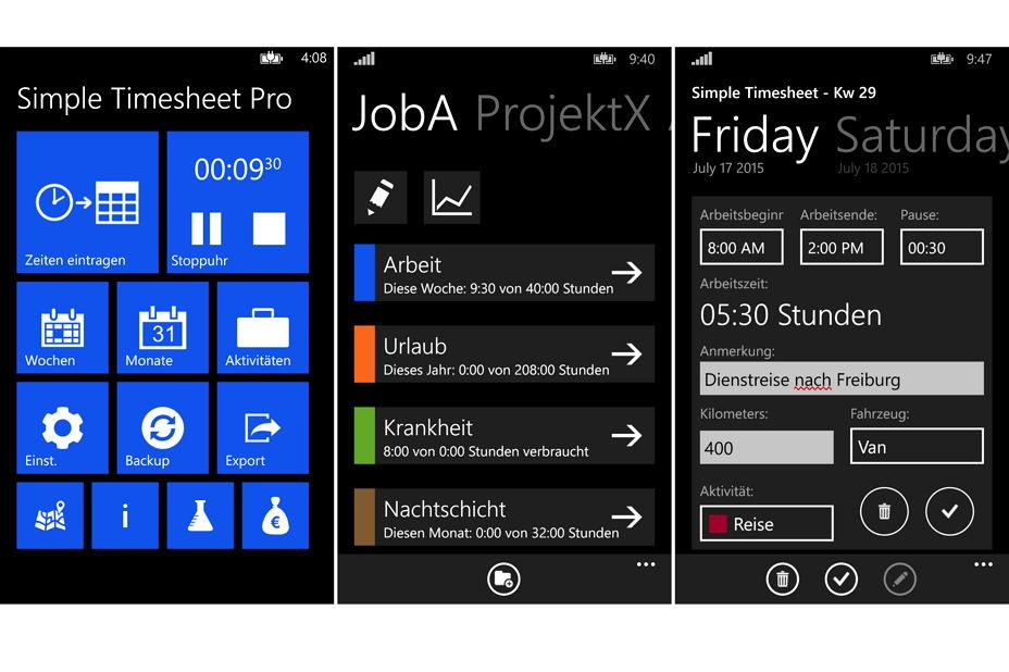 app des tages simple timesheet pro arbeitszeiten erfassen