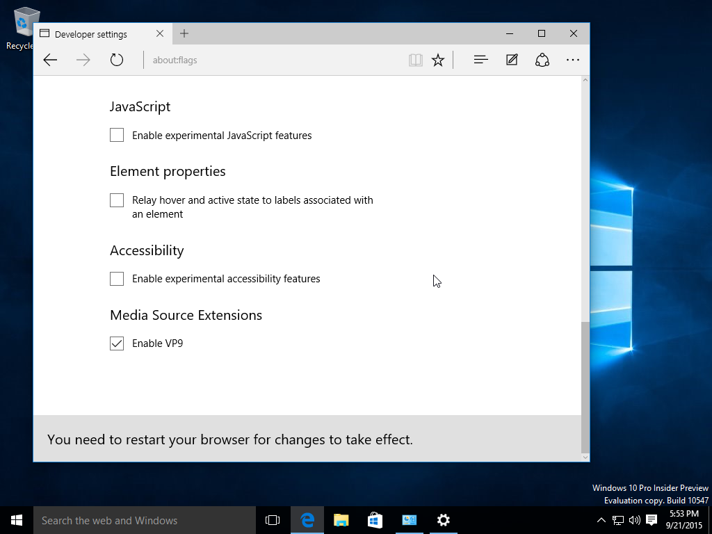 Edge Browser: VP9 Codec in der Windows 10 Build 10547 aktivieren