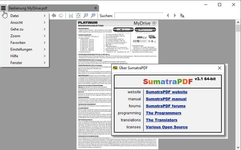 Sumatra PDF nun auch als x64-Version verfügbar