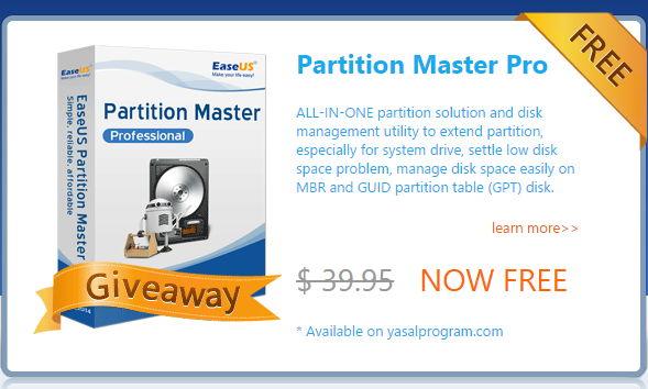 Giveaway heute kostenlos: EaseUS Partitions Master Pro