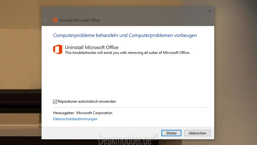 Office 2016, Office 2013 oder Office 365 deinstallieren – Manuell oder mit einem Fix-it