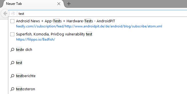 neues Firefox Feature: Suchvorschläge