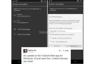 """Windows 10 (Mobile): Mail-App hat ihre """"verknüpften Posteingänge"""" wieder"""
