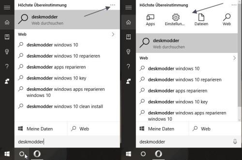 Windows 10 Suche Filtereinstellung