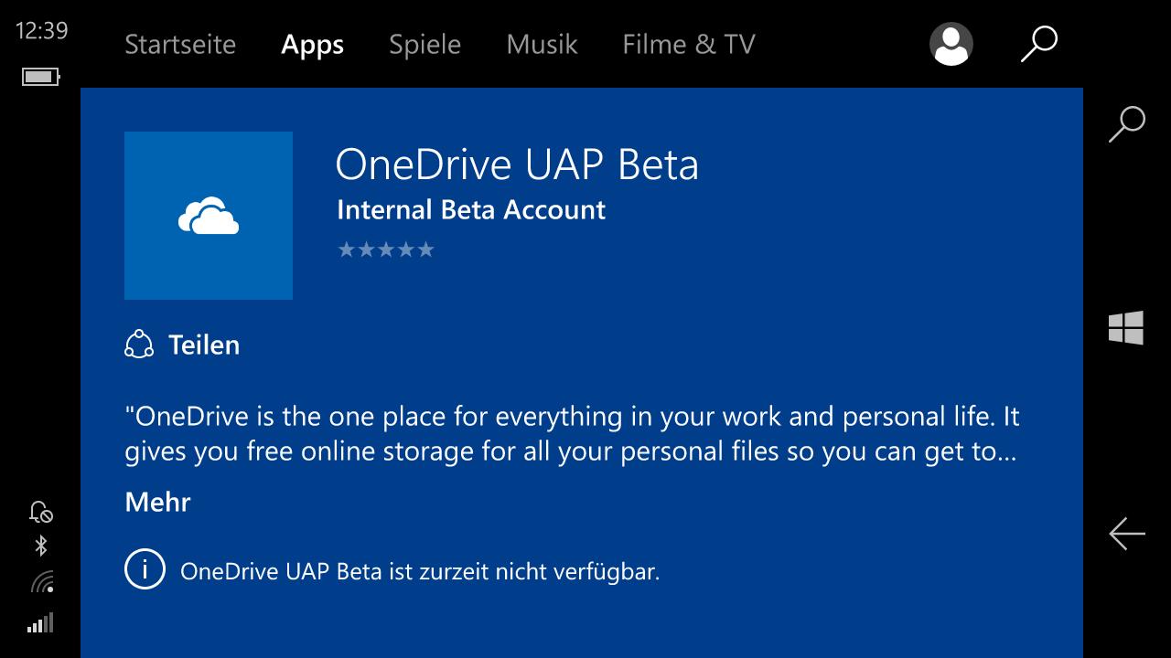 onedrive uap beta windows microsoft