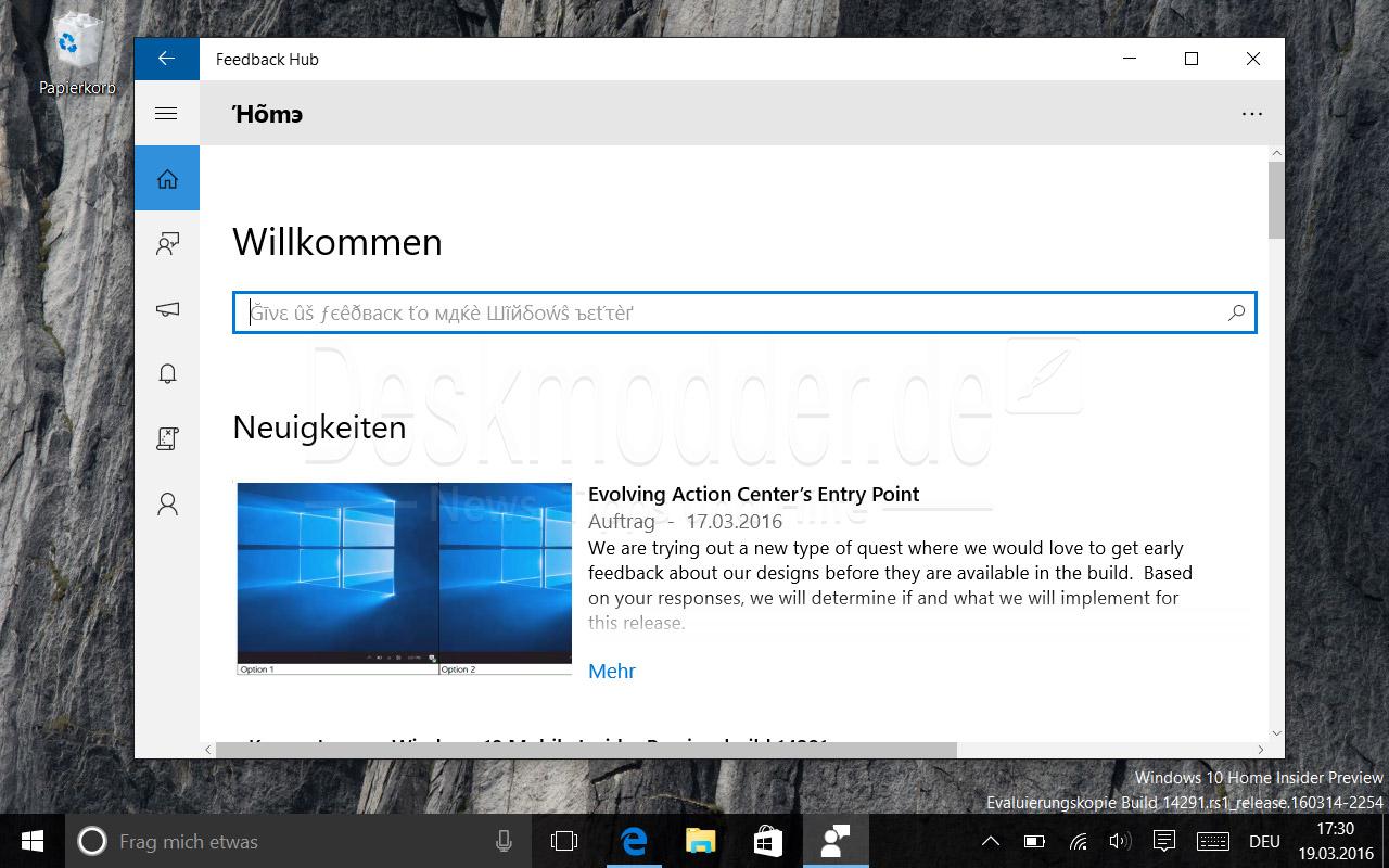 Feedback Hub - Windows 10 Build 14291