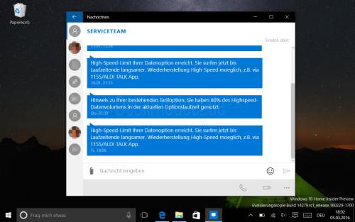 SMS-Synchronisation mit der Nachrichten-App