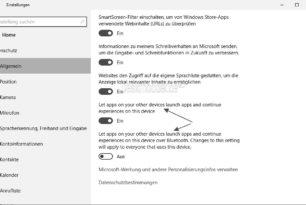 Neue Datenschutzoptionen und neue Features, die man freischalten kann  in der Windows 10 Anniversary Update 14328