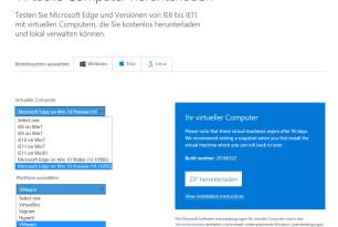 Microsoft Edge 14.14295 mit Windows 10 als virtuelle Maschine steht zum Download bereit