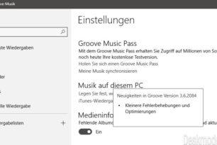 Groove-Musik App Update auf die Version 3.6.2084.0 für die Insider