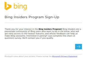 Bing Insider Programm gestartet