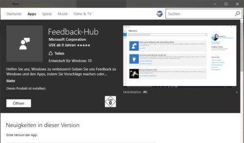 feedback hub app windows 10 1511