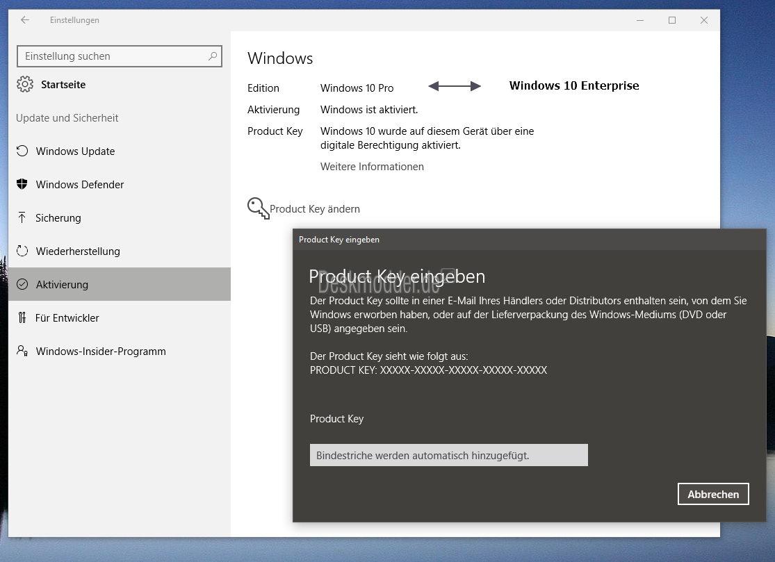 Windows 10 Enterprise in Pro ändern oder Pro in Enterprise