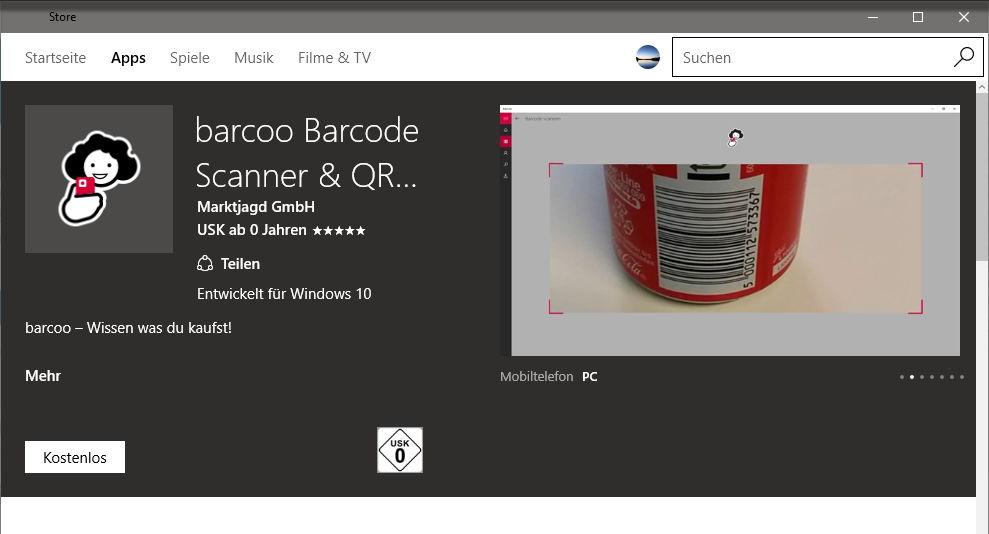 barcoo barcode scanner qr scanner zur ck im microsoft store f r windows 10 mobile. Black Bedroom Furniture Sets. Home Design Ideas