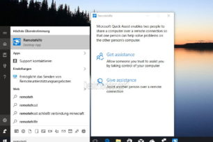 Remotehilfe (Quick Assist) Fernwartung ist nun in der Windows 10 1607 14367