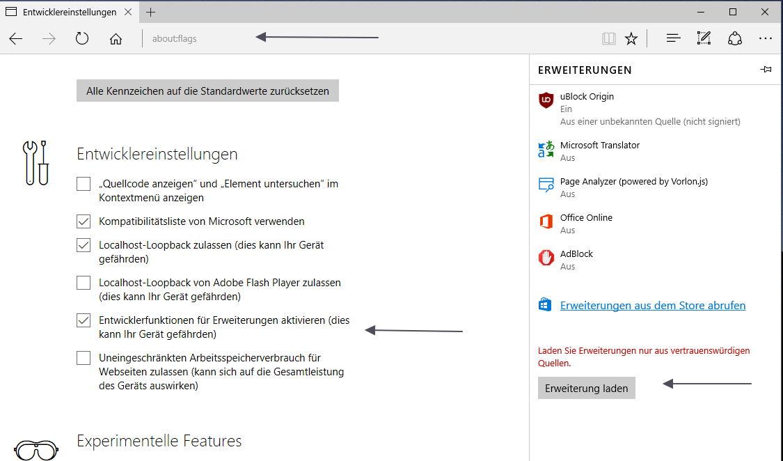 Adblocker uBlock als Microsoft Edge Erweiterung steht zum ...