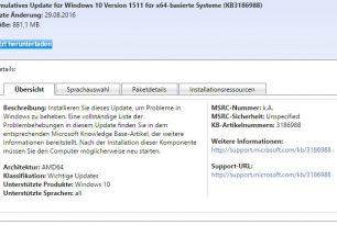 KB3186988 Kumulatives Update für Windows 10 1511 (Download)