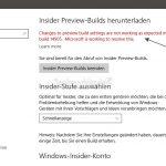 Windows 10 14905 – Fehler beim Ändern der Insider-Preview Einstellungen