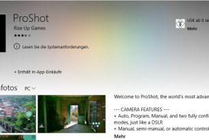 ProShot App wurde kurzzeitig aus dem Windows Store genommen