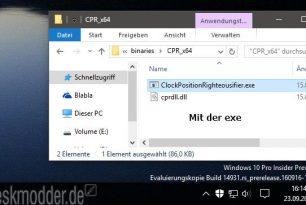 Uhr in der Taskleiste nach rechts setzen mit ClockPositionRighteousifier – Windows 10