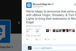 Weitere Änderungen in Windows 10 14931 und neue Erweiterungen für den Microsoft Edge